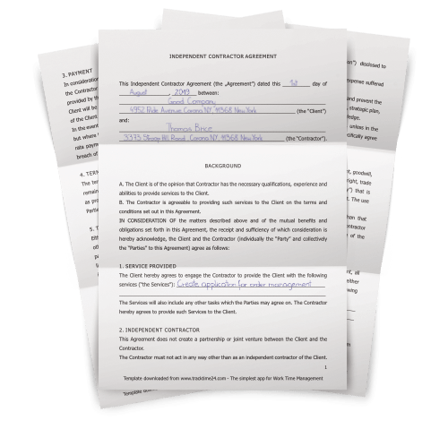 Independent Contractor Agreement Template Word Pdf Download Tracktime24