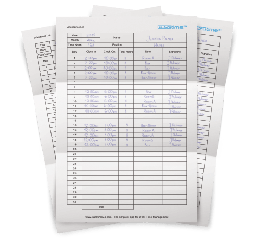 Employee Attendance Sheet Excel Pdf Download Tracktime24